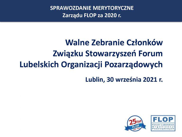 Walne Zebranie Członków Związku Stowarzyszeń Forum Lubelskich Organizacji Pozarządowych w dn. 30 września 2021 r.