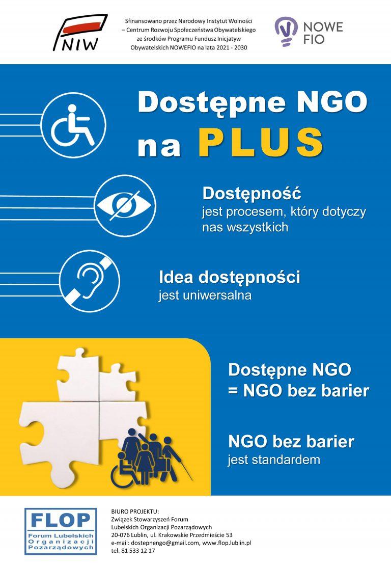 """Plakat projektu """"Dostępne NGO na PLUS"""""""