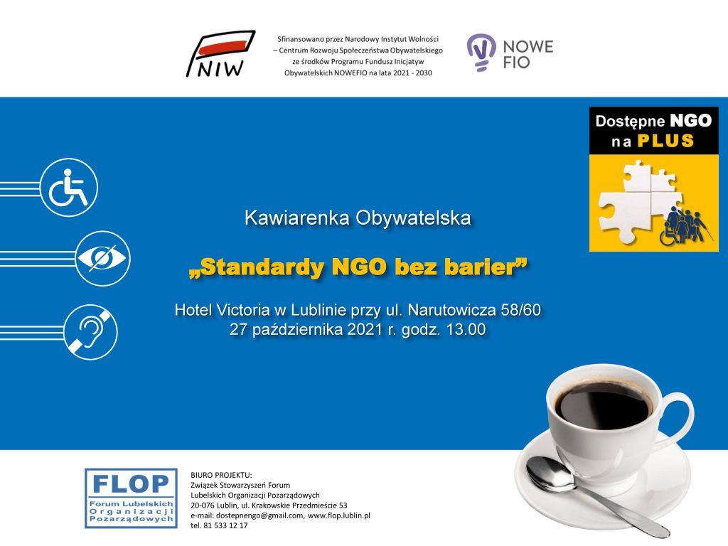 """Zaproszenie na Kawiarenkę Obywatelska """"Standardy NGO bez barier"""""""